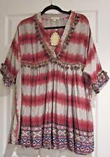 Velzera Nwt Pink Multi V-neck Gypsy Aztec Babydoll Blouson Tunic Mini Dress L XL