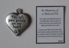 dd You left paw prints on my heart Charm IN MEMORY OF BELOVED PET loss dog cat