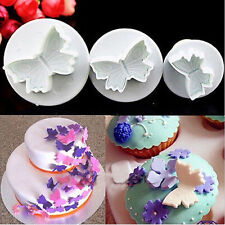 3 Pcs Butterfly Plunger Cutter Mold Sugarcraft Fondant Cake Decorating DIY Tool