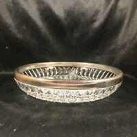 Vintage Clear Glass Diamond Pattern Divided Bowl Silverplate Rim