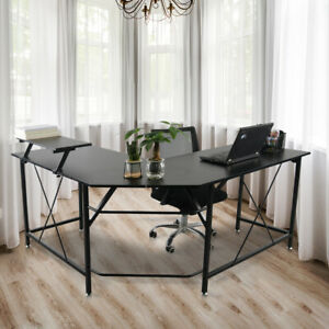 L-Shaped Home Office Desk Computer PC Laptop Table Study Corner Desk Workstation