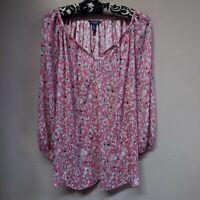 Chaps Women's Pink Floral Split Neck Tie-Front Peasant Blouse Top Size Small