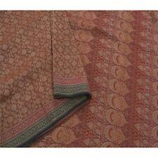 Sanskriti Vintage Brown Saree 100% Pure Silk Woven Craft Fabric Premium Sari