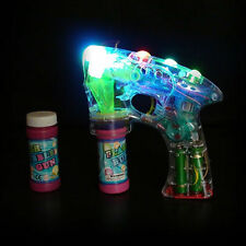 Bubble Ray Gun Fun Light Up Flashing LED Bubble Machine Kids Outdoor Garden Toy