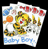 Vintage Suzy's Zoo Baby Boy Tiger Toys Sports Balls Scrapbooking Stickers Lot 3