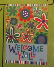 """Small 12 1/2"""" x 18"""" Welcome Y'all Floral Spring Garden Art Flag New In Package"""
