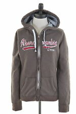 ABERCROMBIE & FITCH Womens Hoodie Jacket Size 14 Large Brown Cotton