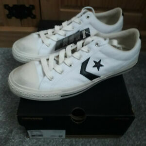 Converse Star Player Distressed Sneakers - White/Black/Egret - Size UK 10
