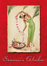 6 Hawaiian Holiday Cards HAWAII Christmas - Holiday Leimaker with Glitter