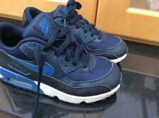 Nike Air Max 90 Junior  Boys Blue Trainers Size UK 2
