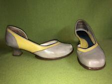 Grey & Yellow Fluevog Wearever Arigato Heels 8.5