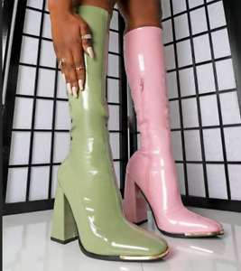 Women Fashion Block High Heels Cocktail Party Pumps Patent Leather Mid Calf Boot