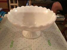 Milk glass white pedestal round compote dish