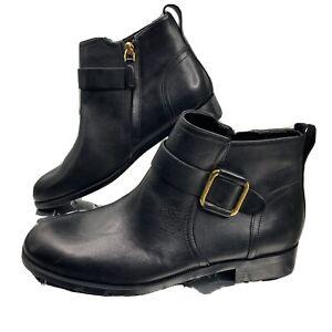 Lauren Ralph Lauren Banbury Bootie Zip Buckle Black Leather Shoe Size 8