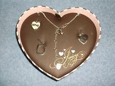 JUICY COUTURE LOVE G & P NECKLACE & CHARMS IN HEART SHAPED BOX