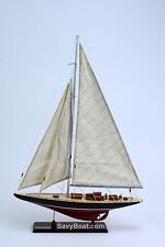 "America's Cup Endeavor 19"" Handmade Wooden Sailboat Model"
