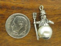 Vintage silver BEAUCRAFT MERRY CHRISTMAS FROSTY SNOWMAN PEARL PENDANT charm BEAU