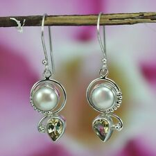 925 Sterling Silver  Citrine  Pearl  Handcrafted  Earrings Bali Jewelry