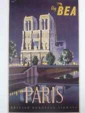 A3 VINTAGE TRAVEL poster Fly B.E.A. London Heathrow Paris Holiday River France