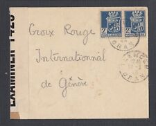 ALGERIA 1943 TWO WWII CENSORED RED CROSS COVERS TLEMCER ORAN TO SWITZERLAND