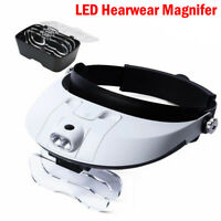 1.0-6.0X Headwear Magnifier for Reading Microscope Work Magnify Glass w/Lamp