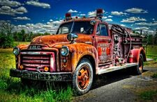 GMC Vintage Fire Truck 20x30 picture truck Fine Art Canvas Photograph