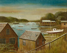 Harbor Scene Oil Painting by Don King