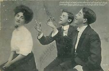 1907 POSTCARD TWO YOUNG MEN TOASTING TO SWEET 16 GIRL POEM BY MURRAY JORDAN