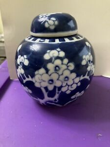 Chinese Pottery,Blue & White Prunus Pattern Lidded Ginger Jar,Double Banded Mark