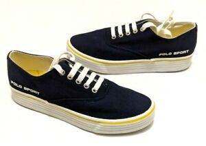 Polo Sport Ralph Lauren Sneaker Shoes Blue Yellow Size 8