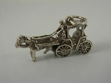 TRADITIONAL STERLING SILVER HORSE AND KART CHARM   VINTAGE SILVER CHARM