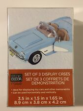 Set Of 3 Toy Car Display Cases Clear Acrylic New In Package Plastic 1:64 Scale