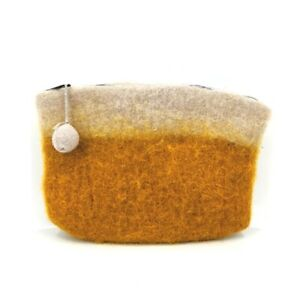 Handmade Double Felted Wool Clutch Travel Bag Small Orange Ombre Pom Pom Zipper