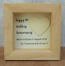 4th Wedding Anniversary Linen Gift Personalised Script Frame HeartBox
