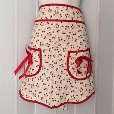 Jessie Steele Retro Cherries Ava Half Apron Red White Linen Cotton NEW w/o Tags