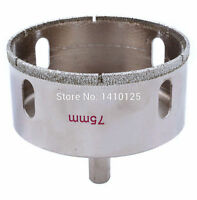 "75 mm 3"" inch Diamond Hole Saw Granite Drill Bit Coated Masonry Drilling Cutter"