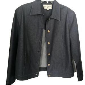 St John Sport M Denim Jacket Blazer Size Medium Blue Marie Gray Made In USA