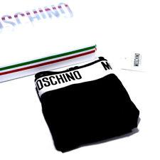 MOSCHINO Logo Band Designer Underwear Black Shorts Stretch Boxer Briefs Trunks