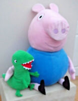 """Peppa Pig's 28"""" GEORGE PIG With His 11"""" DINOSAUR Soft Plush Toy"""