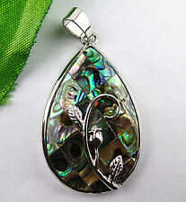 Beautiful Abalone Shell Tibetan silver line carved teardrop pendant bead BC1899