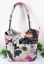 Designer Handtasche Damen Schultertasche Bunt Tasche Rucksack Italy Altweiß