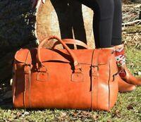 Light Brown Genuine Calfskin Leather Weekender Duffel Travel Overnight Gym Bag