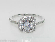 Created Diamond Halo Cluster Ring with Shoulder accents White Gold Plated