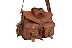 Brown Leather Messenger Crossbody Bag Women Purse Satchel Handbag Shoulder Sling