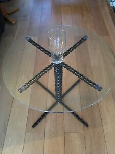 roller chain coffee table toughened glass industrial