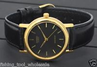 MTP-1095Q-1A Black Casio Watches Genuine Leather Band Analog Casual Dress Men's
