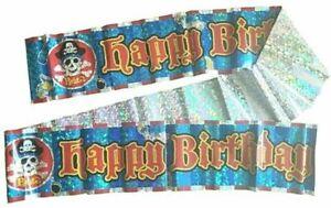2.75m Happy Birthday Pirate Banner Kids Childrens Party Decoration Garland 9ft