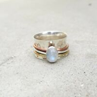 Rainbowmoonstone 925 Sterling Silver Spinner Ring Meditation statement Ring 114