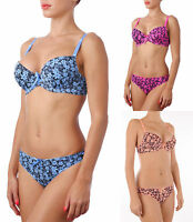 T-Shirt Underwired Floral Halter Push Up Bra Set Thong Tanga Knickers Panty