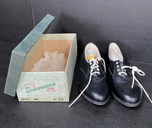 DEADSTOCK! 1950's-60's Scamperoos Black Leather Oxford Kids Shoes Size 2.5